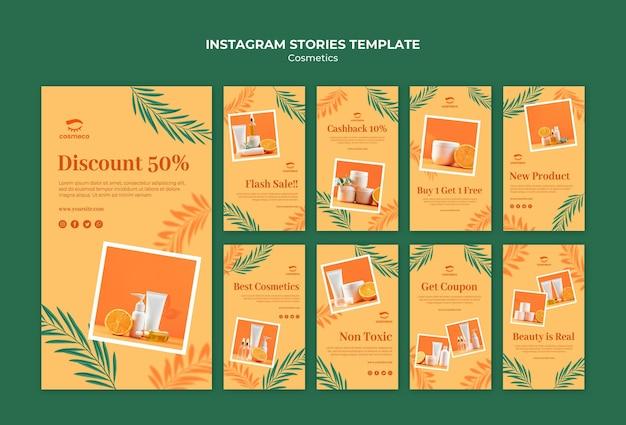 Modèle d'histoires instagram de cosmétiques