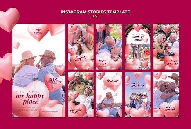 Modèle d'histoires instagram de couple de personnes âgées