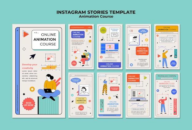 Modèle d'histoires instagram de cours d'animation