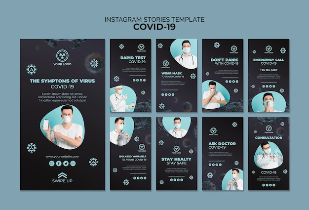 Modèle d'histoires instagram avec covid 19