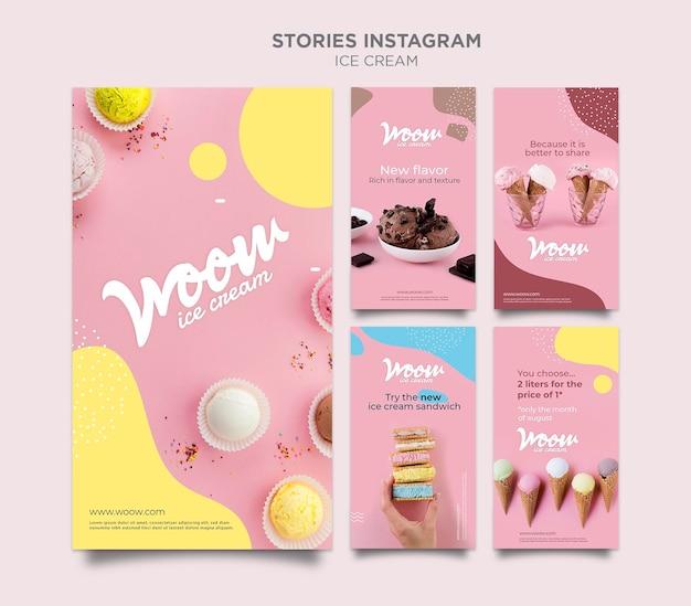 Modèle d'histoires instagram de crème glacée