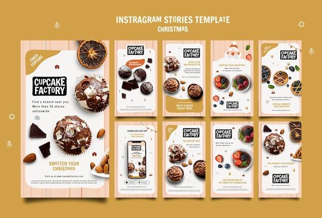 Modèle d'histoires instagram de cupcake de noël