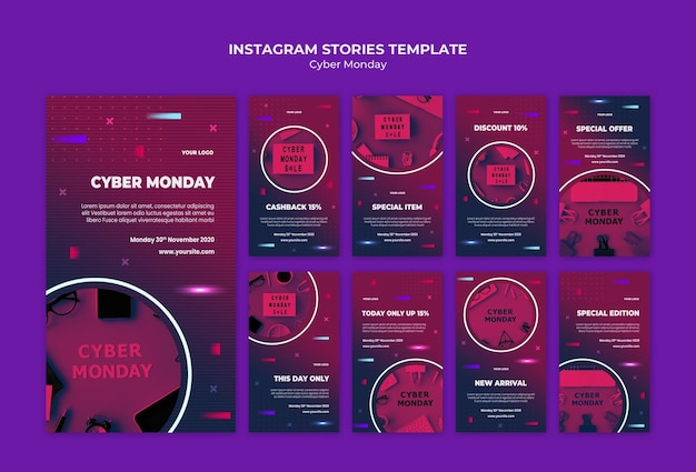 Modèle d'histoires instagram cyber lundi