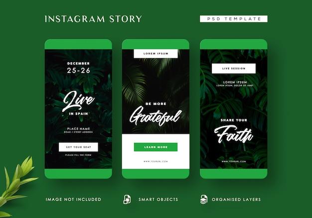 Modèle d'histoires instagram dans la jungle tropicale
