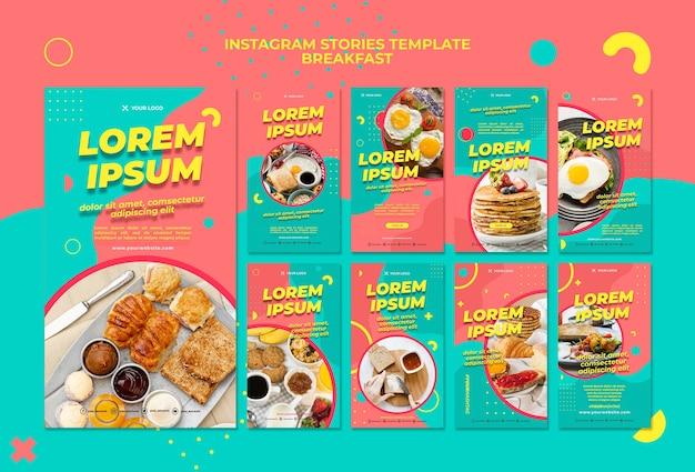 Modèle d'histoires instagram délicieux petit déjeuner