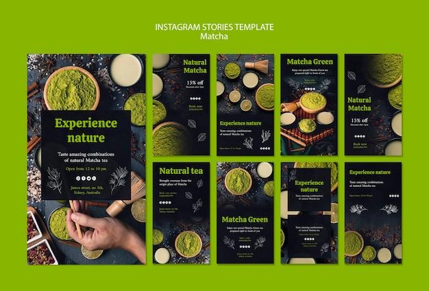 Modèle d'histoires instagram délicieux thé matcha