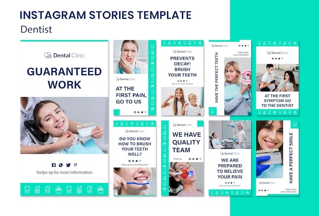 Modèle d'histoires instagram dentiste