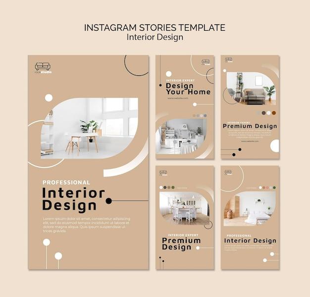 Modèle d'histoires instagram de design d'intérieur