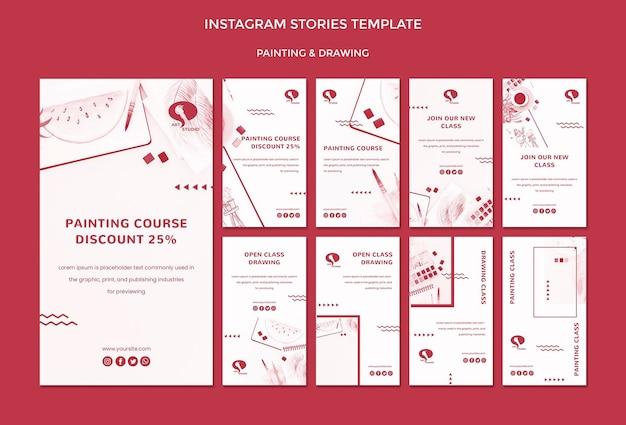 Modèle d'histoires instagram de dessin et de peinture