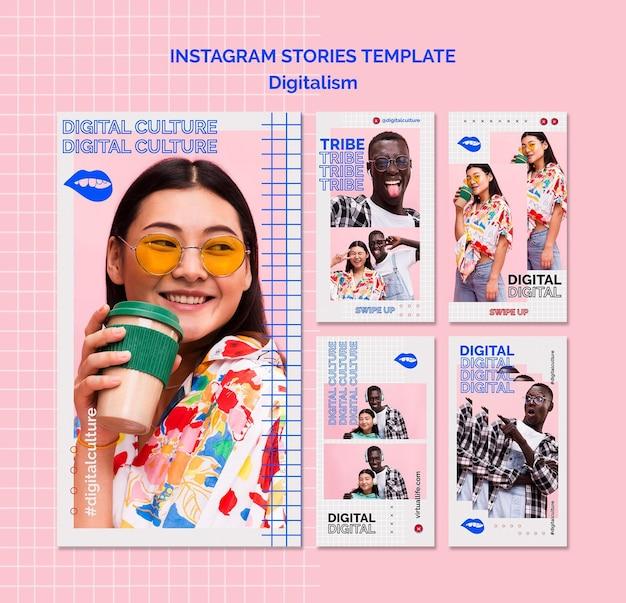 Modèle d'histoires instagram de digitalisme femme et homme