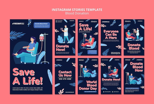 Modèle d'histoires instagram de don de sang