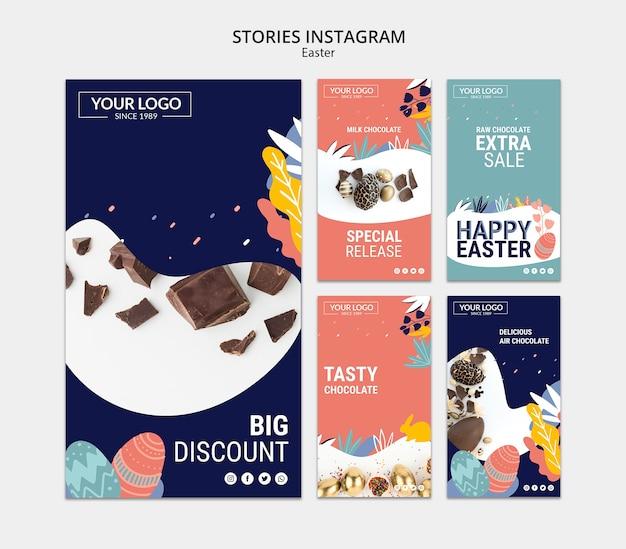 Modèle d'histoires instagram avec du chocolat noir pour pâques