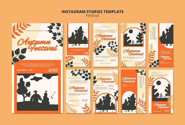 Modèle d'histoires instagram du festival d'automne