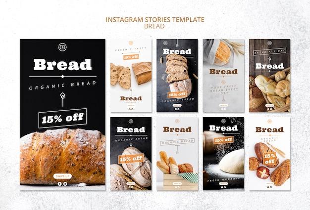 Modèle d'histoires instagram avec du pain