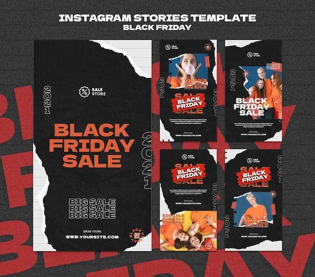 Modèle d'histoires instagram du vendredi noir