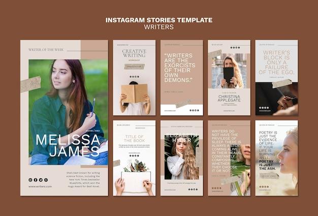 Modèle d'histoires instagram d'écrivains