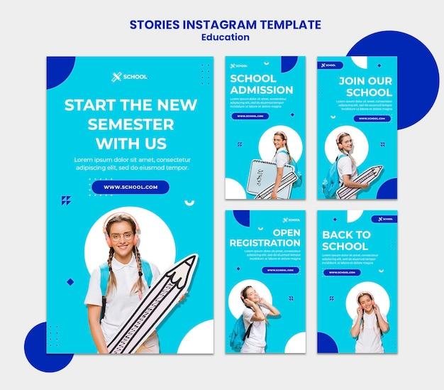 Modèle d'histoires instagram d'éducation