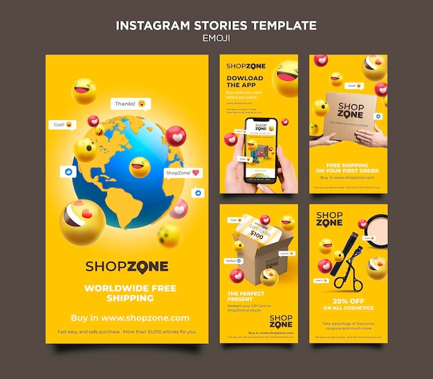 Modèle d'histoires instagram emoji