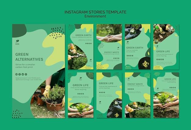 Modèle d'histoires instagram environnement