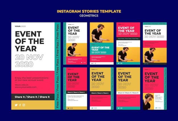 Modèle d'histoires instagram d'événement de l'année