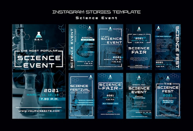 Modèle d'histoires instagram d'événement scientifique