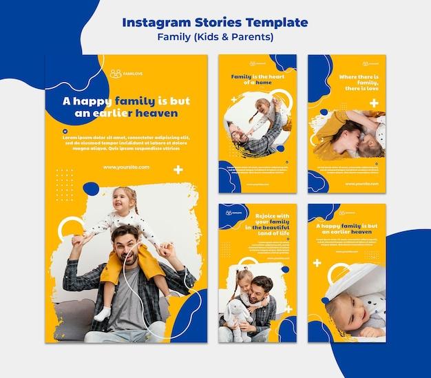 Modèle d'histoires instagram familiales avec photo