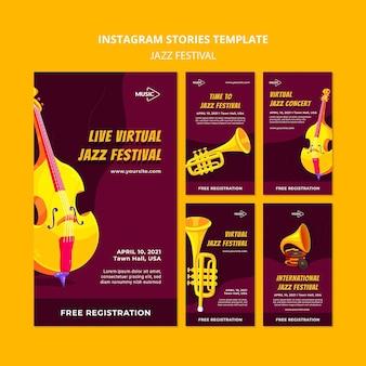 Modèle d'histoires instagram de festival de jazz virtuel