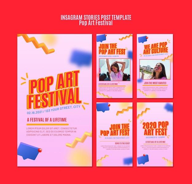 Modèle d'histoires instagram de festival de pop art