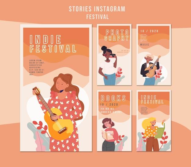 Modèle d'histoires instagram de festival