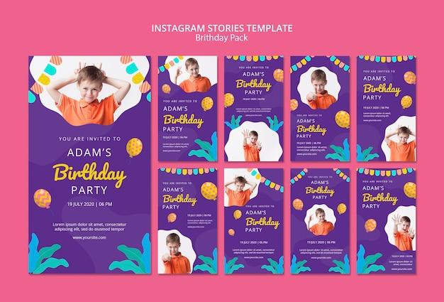 Modèle d'histoires instagram avec fête d'anniversaire