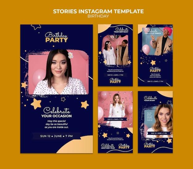 Modèle d'histoires instagram de fête d'anniversaire