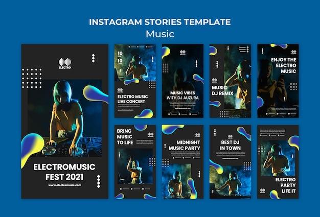 Modèle d'histoires instagram de fête musicale