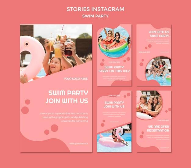 Modèle d'histoires instagram de fête de natation