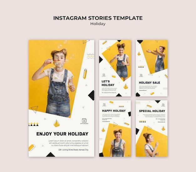 Modèle d'histoires instagram de fête de vacances