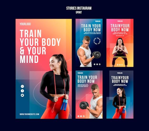 Modèle d'histoires instagram de formation corporelle