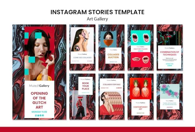Modèle d'histoires instagram de galerie d'art