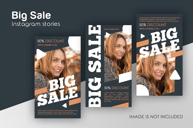 Modèle histoires instagram de grandes ventes