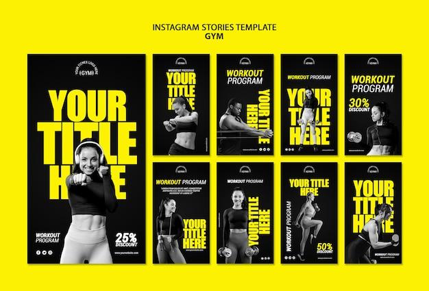 Modèle d'histoires instagram de gym