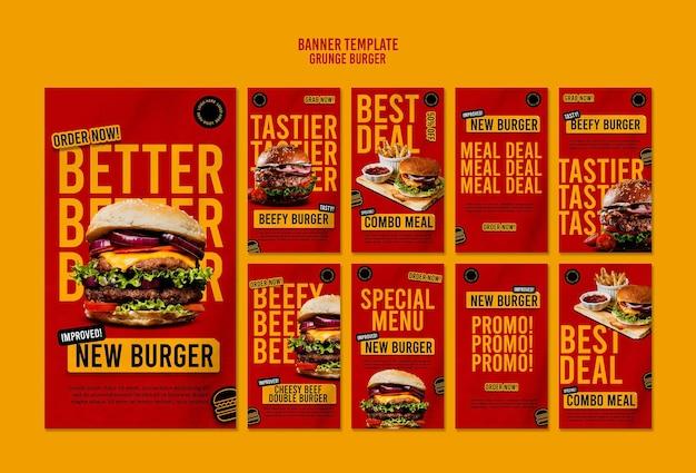 Modèle d'histoires instagram de hamburger grunge
