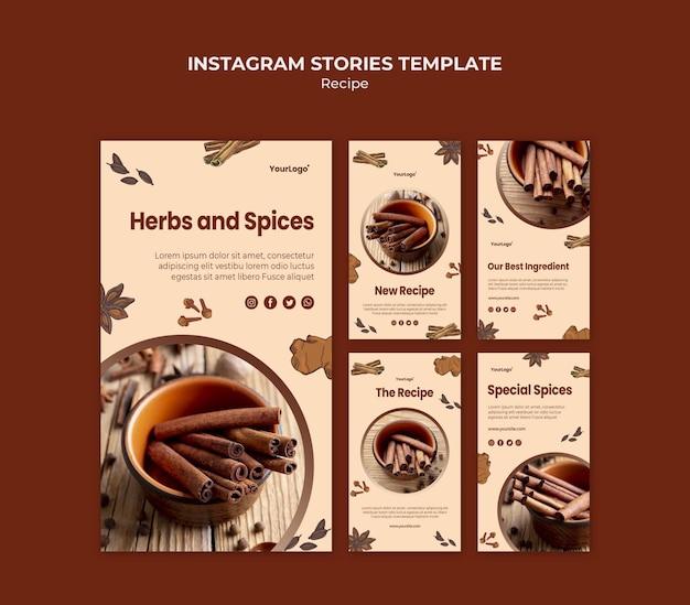 Modèle d'histoires instagram d'herbes et d'épices