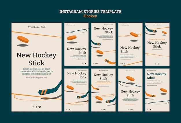 Modèle d'histoires instagram de hockey