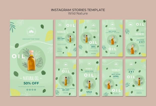Modèle d'histoires instagram d'huile naturelle