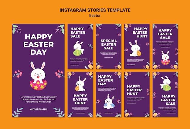 Modèle d'histoires instagram illustrées d'événement de pâques