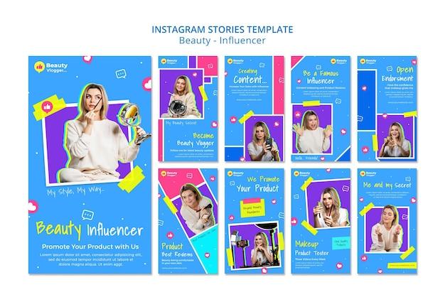 Modèle d'histoires instagram d'influenceur de beauté