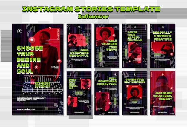Modèle d'histoires instagram d'influenceur avec photo