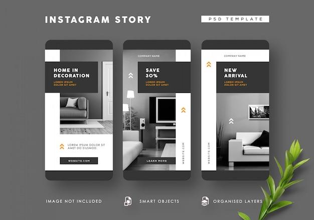 Modèle d'histoires instagram intérieures en noir et blanc