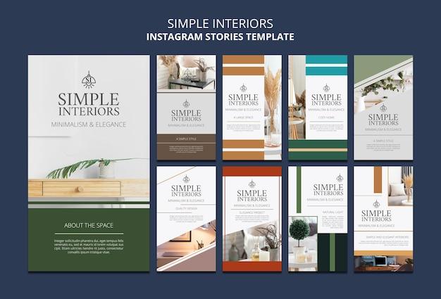 Modèle d'histoires instagram d'intérieurs simples