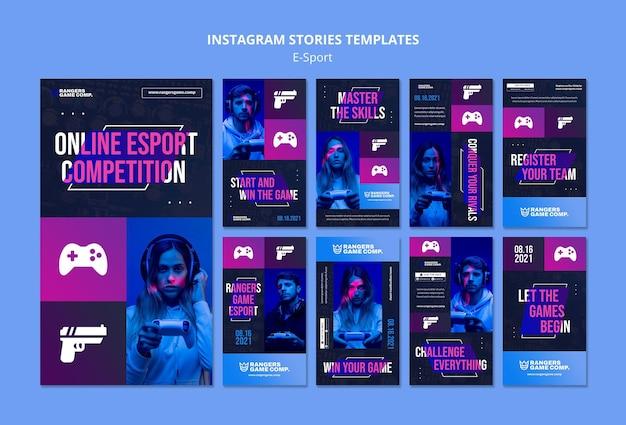 Modèle d'histoires instagram de joueur de jeu vidéo