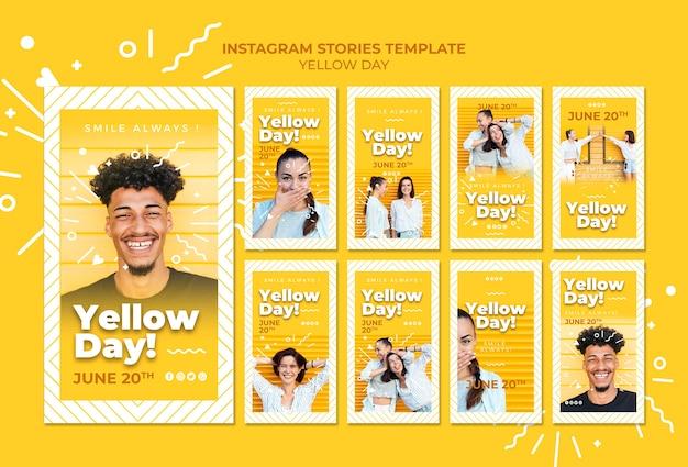 Modèle d'histoires instagram de jour jaune
