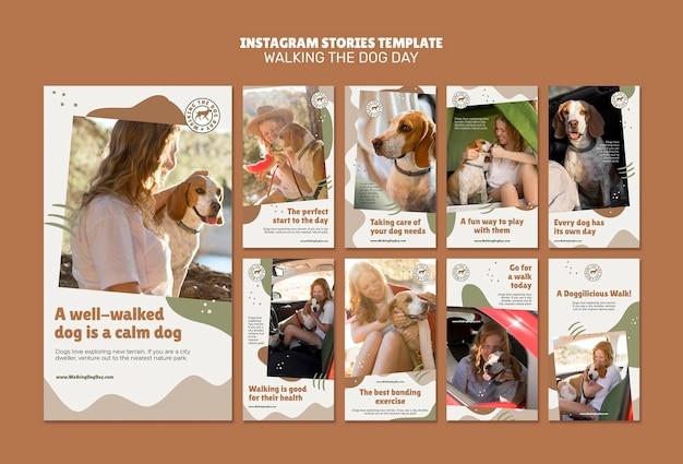 Modèle d'histoires instagram de jour de marche du chien